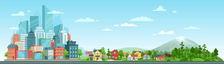 Urban and nature landscape. Modern city buildings, suburban houses and wild forest vector illustration. Contemporary metropolis with skyscrapers, suburbs with cottages and woods panorama