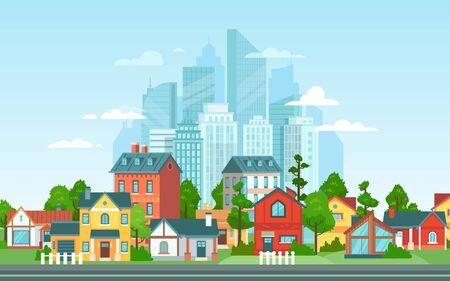 Paysage de banlieue. Architecture urbaine, petits et grands bâtiments de la ville. Les banlieues abritent une illustration vectorielle de dessin animé. Campagne, banlieue avec cottages privés avec paysage urbain en arrière-plan Vecteurs
