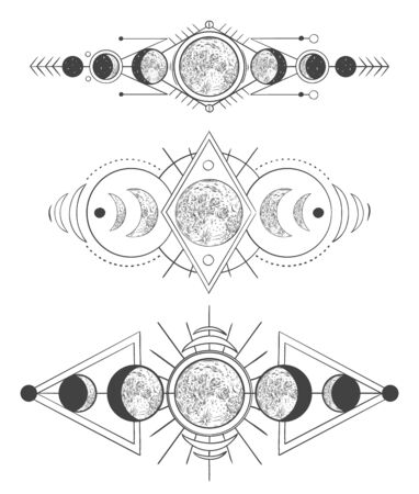 Moons phases in mystic sky. Mother moon, hand drawn pagan tattoo or sketch wicca moon goddess vector illustration set. Lunar phases monochrome drawings pack. Ancient astrology, occult symbols