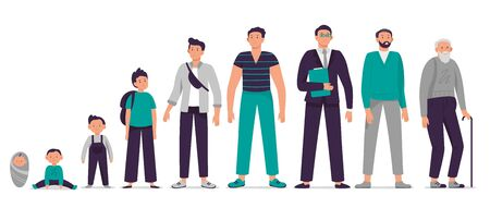Different ages male character. Child, young boy, teenager, adult man and old senior vector illustration set. Person growing up, aging process stages. Happy man life cycle from infancy to senility