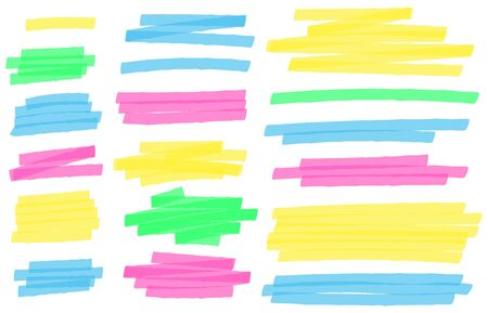 Color highlight marker lines. Colorful markers scribble, highlights line strokes and highlight banner vector set. Freehand multicolor scrawls isolated on white. Text underlining and highlights 矢量图片