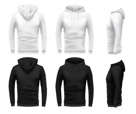 Realistic hoodie mockup. Black sweatshirt, white urban wearing hoodie and realistic clothes template 3D sweatshirts with hoodie vector set. Black and white hoody in different angle views