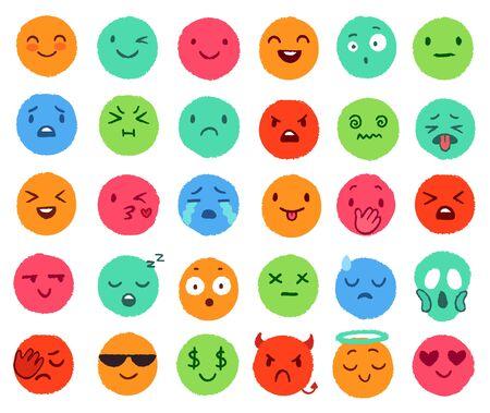 Emoji de color dibujado a mano. Caras de doodle coloridas, emoticonos felices y conjunto de vectores de cara redonda sonriente. Lindas pegatinas de redes sociales para diferentes expresiones de humor. Varias colecciones de insignias divertidas. Ilustración de vector