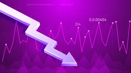Dropping graphic arrow. Profit reduction schedule, financial debt graph and income loss 3D arrow vector illustration. Business downturn, company income decline. Decreasing stock market trend forecast