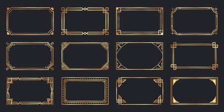 Golden art deco frames. Vintage decorative frame, gold ornaments borders and geometric lines ornament vector set. Elegant decorations with copyspace. Luxurious decorative design elements Illusztráció