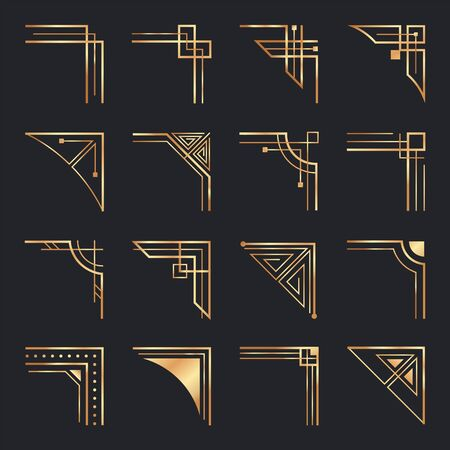 Art deco corners. Golden geometric ornamental corner, frame decoration and gold retro frame elements vector set. Minimalistic geometric design elements, elegant ornaments isolated on white background