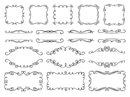 Calligraphy flourish frames. Vintage text frame decorated ornamental flourishes, ornate borders and swirling dividers vector set. Elegant empty frames with copyspace and filigree dividers pack Illusztráció