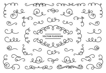 Line flourish ornament swirls. Vintage swirl lines, ornamental flourishes devider and retro frame corner vector set. Linear border design elements collection. Ornate curves isolated on white