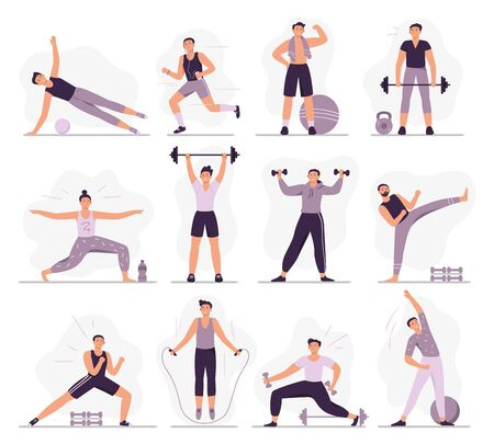Man sport activities. Strong guy in sport outfit, athletic men trainings and healthy male workout vector illustration set. Different physical training exercises. Stretching, jogging and weight lifting