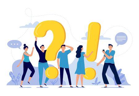 Les gens posent des questions fréquemment posées. FAQ, personne qui pose la question, questions et réponses pour hommes et femmes, illustration vectorielle. Concept de plate-forme de communication Internet. Utilisateurs du forum en ligne