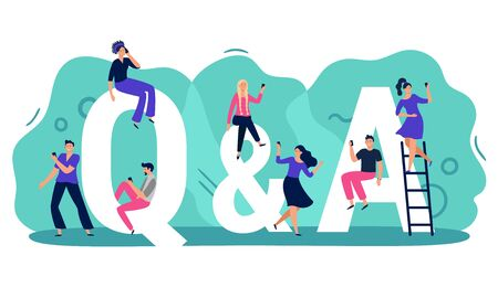 Questions and answers. Q A with people, persons with smartphones ask question and find answer vector illustration. Young men and women searching for problem solution. Public q and a service