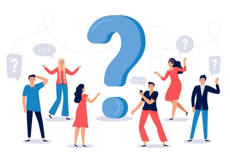 People ask question. Confused person asking questions, crowd finding answers and question sign vector illustration. Collective brainstorm, mutual assistance concept. Public problem solution platform Ilustração Vetorial