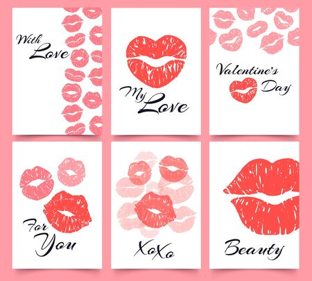 Lips prints. Card with love, Valentines day and fashion kiss print cards vector illustration set. attractive female mouth imprints