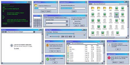 Retro-Benutzeroberfläche. Retro-UI-Kopieren, Box herunterladen. Fenster mit Warnmeldung. Alter Internetbrowser, Terminal und Musikplayer-Vektorsatz. Vintage-Computersoftware-Bedienfelder und -Dialoge