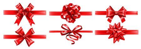 Realistische rote Bänder mit Schleifen. Festlicher Verpackungsbogen, Geschenkdekoration und Geschenkbandvektorsatz. Bündel eleganter glänzender Satinbänder. Satz glatte Textilstreifen lokalisiert auf weißem Hintergrund.