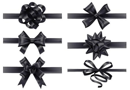 Realistic black ribbons with bows. Dark festive wrapping bow, holiday gift ribbon decoration 3d realistic illustration vector set. Collection of silk tapes for funeral. Bundle of tied satin strips. Ilustração