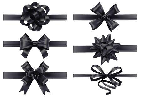 Realistische schwarze Bänder mit Schleifen. Dunkler festlicher Verpackungsbogen, Weihnachtsgeschenkbanddekoration 3d realistischer Illustrationsvektorsatz. Sammlung von Seidenbändern für die Beerdigung. Bündel gebundener Satinstreifen.