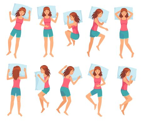 Woman sleeps in different poses. Healthy night sleep, sleeping pose and female character sleep on pillow cartoon vector illustration set. Bundle of girl lying in various postures during night repose.