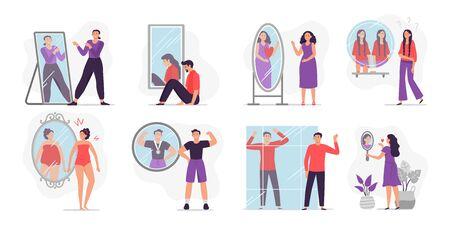 Leute, die Spiegelreflexion betrachten. Vektorillustration der Selbsteinschätzung und des persönlichen Aussehens. Konzept der Bewertung von Attraktivität, körperdysmorphe Störung, Transsexualität, Selbstuntersuchung.