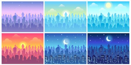 Day time cityscape. Change of time of day, morning town and night city skyline vector illustration set. Bundle of urban landscapes in flat style with downtown buildings, sun or crescent moon in sky. Vector Illustratie