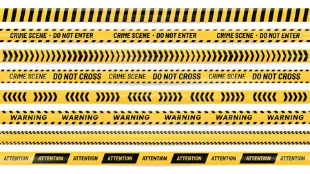 Danger ribbon. Alert stripes, warning tape and striped yellow and black ribbons realistic vector illustration set. Bundle of barricade, caution, safety or hazard lines for crime scene preservation. 일러스트