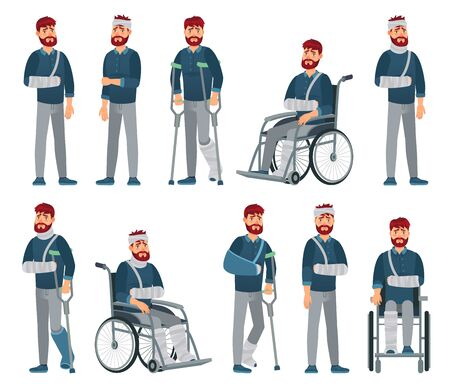 Man with injury. Wheelchair man with broken arm and leg in gypsum. Sad male character with different accident injuries vector cartoon illustration. Unhappy handicapped guy with bandage and crutches.