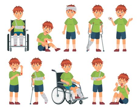 Kid with injury. Boy bruised hand, broke leg and arm. Injuries head, sport injuries and wheelchair vector cartoon illustration set. Sad crying child with wounds or traumas, disability or impairment.