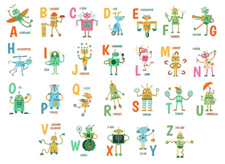 Cartoon robots alphabet. Funny robot characters, ABC letters for kids and education poster with robotic friend mascots vector illustration set. Cute androids and english words placed alphabetically.