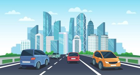 Cars on highway to town. City road perspective view, urban landscape with cars and car travel vector cartoon illustration. Automobiles riding towards megalopolis with skyscrapers and modern buildings.