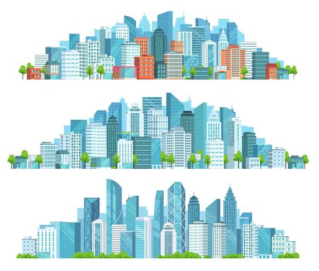 Isolated cityscape. City street, abstract urban and horizontal town landscape panorama cartoon vector illustration set. Panoramic views of downtown, district with modern buildings and skyscrapers.