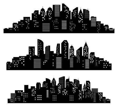 Cityscape silhouette. City buildings, night town and horizontal urban panorama silhouettes vector set. Black shadows of district or downtown with buildings, skyscrapers. Monochrome panoramic views. 일러스트