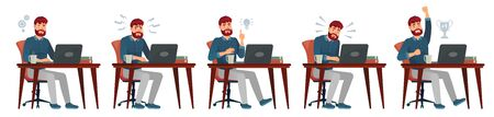 Man working on laptop. Office worker have idea, works with laptop and enjoys success. Work process, bearded programer cartoon vector illustration. Clerk or employee sitting at desk with computer.