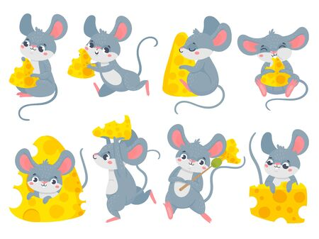 Cartoon mouse with cheese. Cute little mouses, funny mouse mascot and mice steal cheese vector set. Collection of happy rodents eating snacks. Bundle of little adorable joyful animals with food.