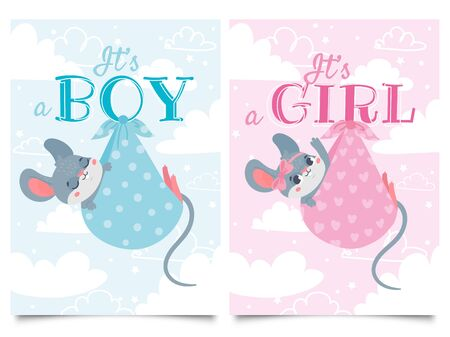 Its Boy and Girl cards. Baby shower label with cute mouse, mice children vector cartoon illustration set. Party invitation templates in blue and pink colors with adorable newborn rodent animals.
