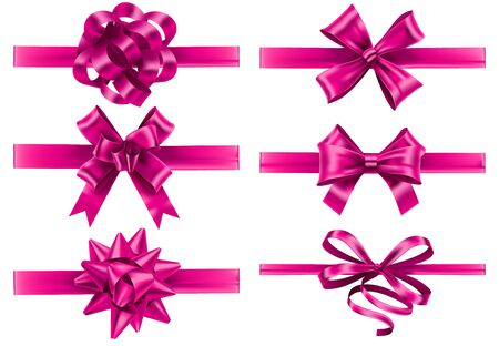 Realistic pink ribbons with bows. Festive wrapping bow, pinks silk ribbon and valentines day gifts decoration vector set. Bundle of decorative silk tapes for present packaging. Set of tied strips.
