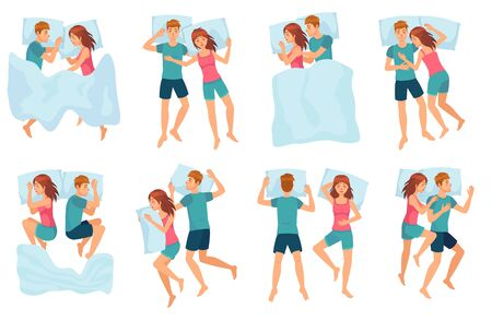 Couple sleeps in different poses. Man and woman sleeping together, couple in bed and healthy night sleep vector set. Cute boy and girl slumbering. Male and female cartoon characters falling asleep. Stock Illustratie