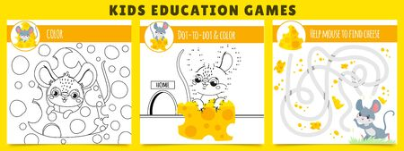 Mouse kids games. Coloring game, mouse find cheese maze and dot by dot cartoon vector illustration set. Collection of educational puzzles or riddles for children with adorable funny rodent animal. Иллюстрация