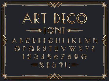 Golden art deco font. Luxury decorative 1920s geometric letters, ornamental gold numbers and retro frame vector set. Elegant vintage English alphabet, digits, punctuation marks, typographic symbols.