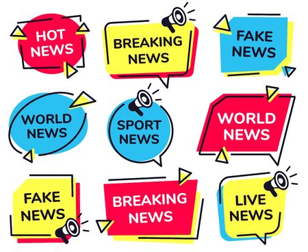 News label. Breaking, live sport and fake news badges vector set. Bundle of modern banners for television broadcasting. Collection of creative flat design elements for newscast TV program, media show.