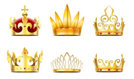 Realistic crown and tiara. Golden royal crowns, queens gold diadem and monarchs crown vector set. Collection of elegant emperor or empress headgear or coronets decorated by jewels or gemstones.