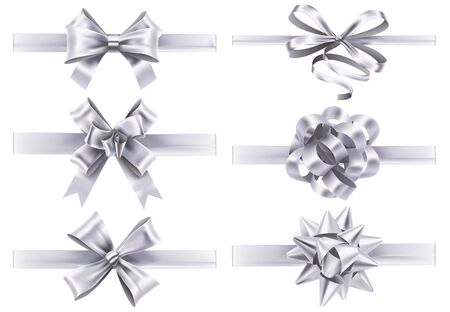Realistic white ribbons with bows. Festive wrapping bow, holiday gift ribbon decoration realistic vector collection. Set of tied silver silk tapes. Bundle of light glossy textile design elements. Ilustração