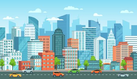 Cityscape with cars. City street with road, town buildings and urban car cartoon vector illustration. Panoramic view with automobiles riding against modern downtown skyscrapers on background. Vettoriali