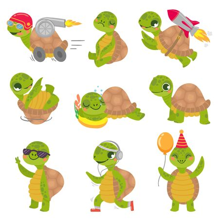Turtle child. Cute little green turtles mascot, fast rocket tortoise and sleeping turtle vector illustration set. Collection of funny baby reptiles or reptilians. Bundle of happy wild exotic animals. Çizim