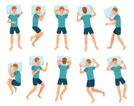 Man sleeps in different poses. Male character sleep, mans sleeping in bed top view vector illustration set. Collection of boy lying in various positions or postures during night rest or slumber.