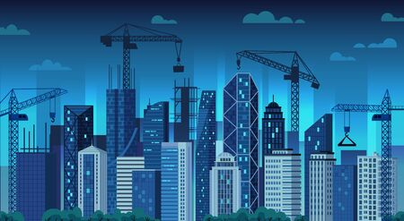 Urban development. Night construction cranes, modern city building and cityscape cartoon vector illustration. Evening view of megalopolis street with skyscrapers. Real estate in residential area.