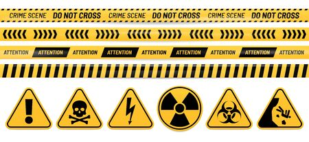 Danger ribbon and sign. Attention, poison, high voltage, radiation, biohazard and falling warning signs. Caution tape vector set. Bundle of restricted access, safety and hazard stripes, alert symbols.
