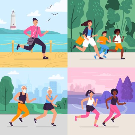 Cartoon running workout. Runner run outdoor at park fitness track, athlete on stadium, sportsman runners vector illustration set. Collection of happy people jogging or performing sports exercise.
