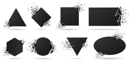 Exploded frame with spray particles. Explosion destruction, shattered geometric shapes and destruction energy vector banners set. Black objects with broken borders isolated abstract design elements
