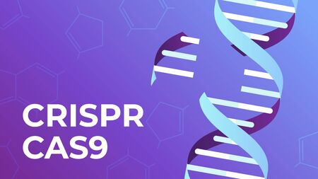 CRISPR CAS9. DNA gene editing tool, genes biotechnology and human genome engineering vector illustration. science medical concept