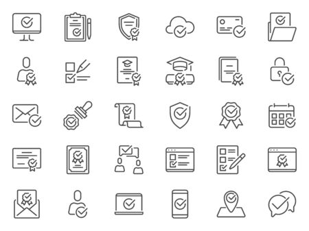 Check mark line icons. Quality standard marks, confirmed symbols and legal stamp. Verified signed certificate outline pictograms. Approval checkmark and checklist signs